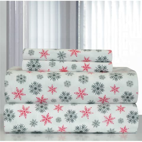 Pointehaven White Snowflakes Printed Heavyweight Flannel Sheet Set