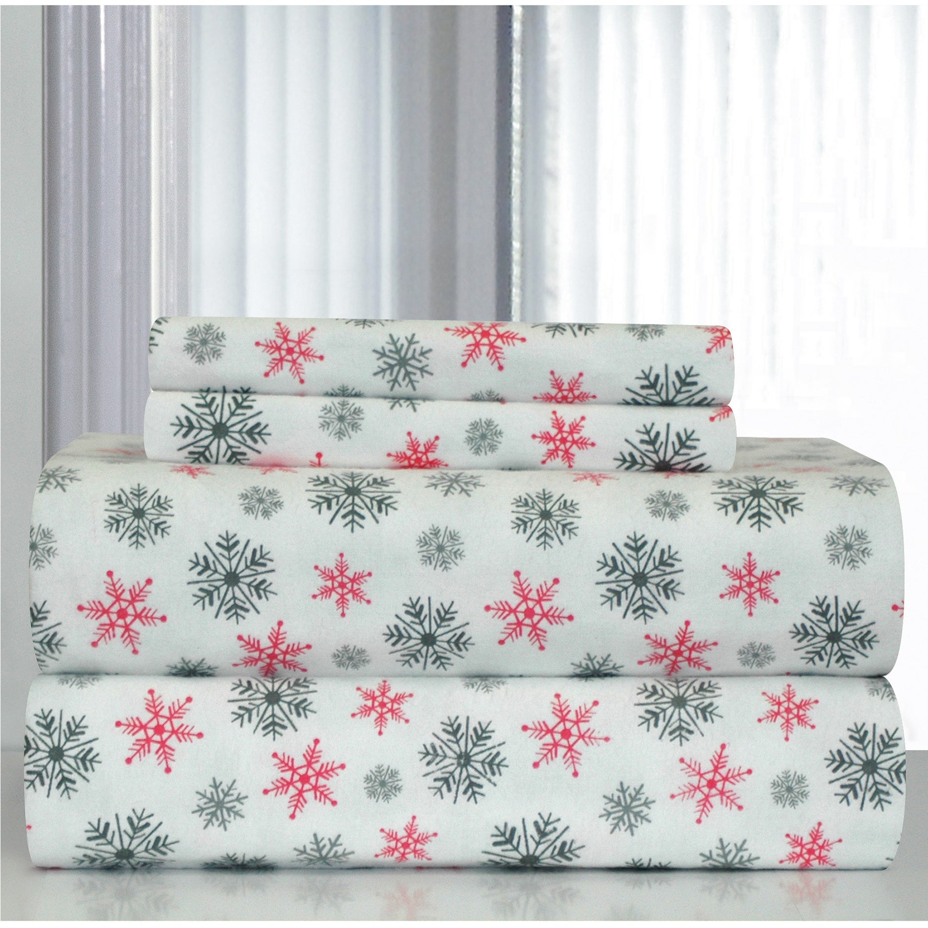 Pointehaven White Snowflakes Printed Heavyweight Flannel Bed Sheet Set On Sale Overstock 7137027