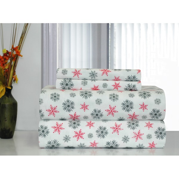 Pointehaven White Snowflakes Printed Heavyweight Flannel Sheet Set