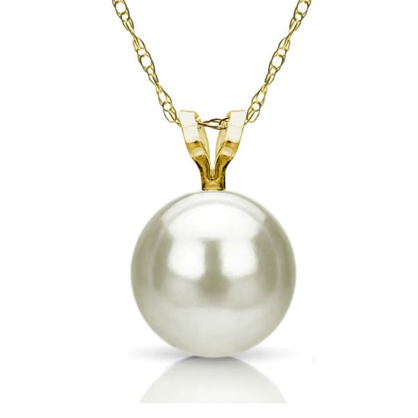 DaVonna 14k Yellow Gold White Pearl Pendant Necklace with Gift Box (8-8.5mm)