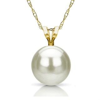DaVonna 14k Yellow Gold 8-8.5mm White Freshwater Pearl Pendant Necklace, 18""