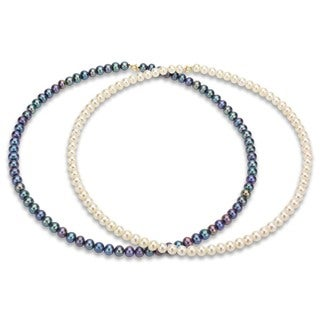 DaVonna 14k Gold Black and White FW Pearl 18-inch Necklace Set (5.5-6 mm)
