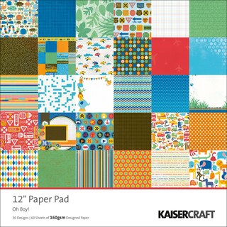 """Oh Boy! Single-Sided 160gsm Paper Pad 12""""X12""""-60 Sheets - 30 Designs/2 Each"""