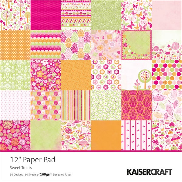"Sweet Treats Single-Sided 160gsm Paper Pad 12""X12""-60 Sheets - 30 Designs/2 Each"