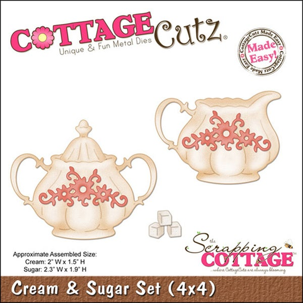 "CottageCutz Die 4""X4""-Cream & Sugar Set Made Easy"