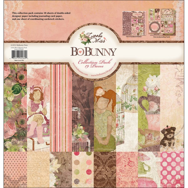 """Little Miss Collection Pack 12""""X12""""-18 Double-Sided Papers + Sticker Sheet"""