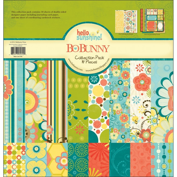 """Hello Sunshine Collection Pack 12""""X12""""-18 Double-Sided Papers + Sticker Sheet"""