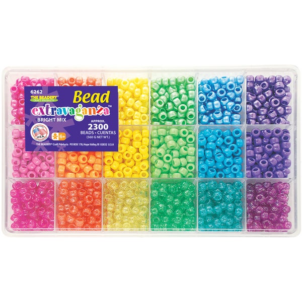 Beadery 'Brights Mix' Giant Bead Box Kit with 2300 Plastic Beads
