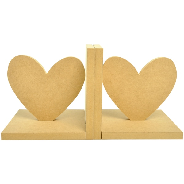 """Beyond The Page MDF Heart Bookends-5.5""""X5.5""""X5"""""""