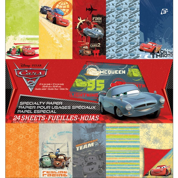 """Disney Specialty Paper Pad 12""""X12"""" 24 Sheets-Cars 2"""