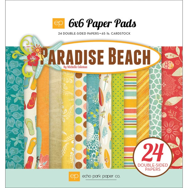 "Paradise Beach Double-Sided Cardstock Pad 6""X6"" 24 Sheets-"