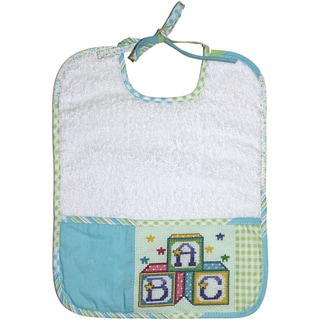 Patchwork Terry Cloth Bib-Green And Blue