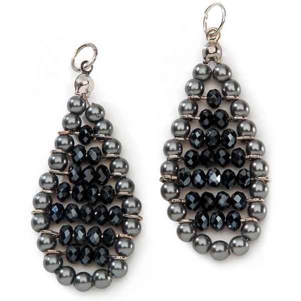Styled by Tori Spelling (TM) Teardrop Danglers-Gray Pearl And Black Crystal 2/Pkg