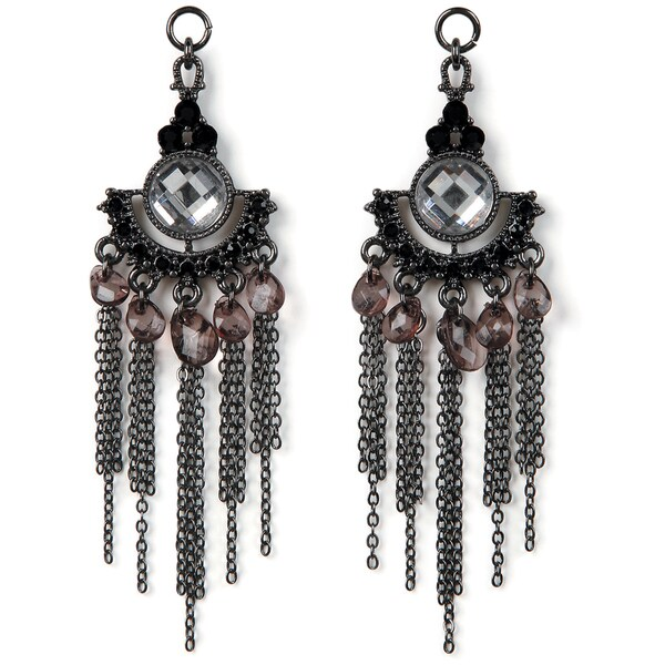 Styled by Tori Spelling(TM) Chain,Crystal,Teardrop Danglers-Hematite 2/Pkg
