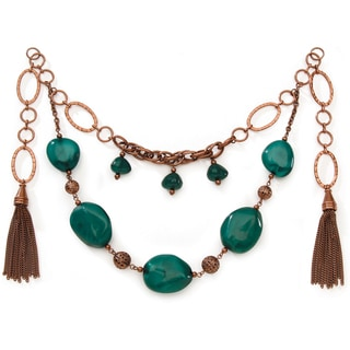 Styled by Tori Spelling (TM) Necklace Bottom-Copper Metal Green Agate 1/Pkg
