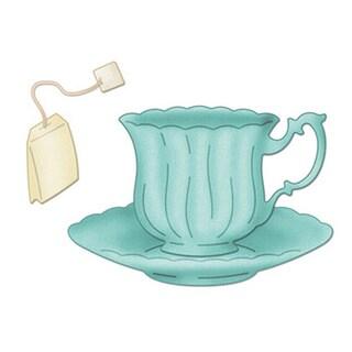 """CottageCutz Die 4""""X4""""-Teacup With Saucer & Tea Bag Made Easy"""