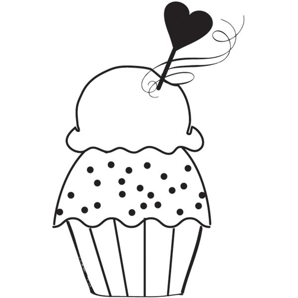 """Mounted Rubber Stamp 2.5""""X2""""-Love Cupcake"""