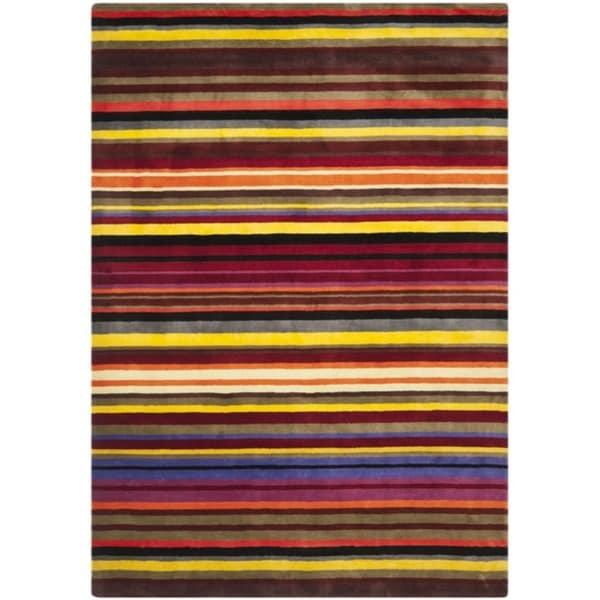 Safavieh Handmade Rodeo Drive Contemporary Red Rainbow Stripe Rug (7'6 x 9'6)