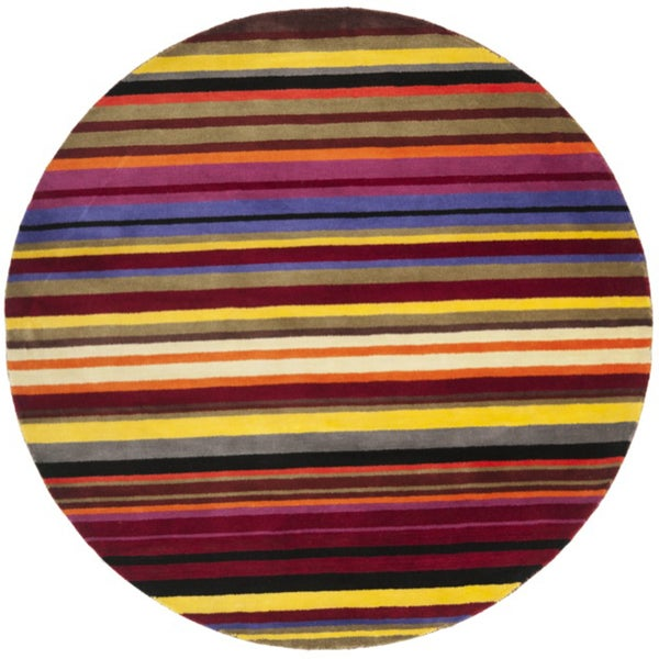 Safavieh Handmade Rodeo Drive Contemporary Red Rainbow Stripe Rug (6' x 6' Round)