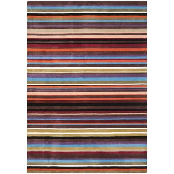 Safavieh Handmade Rodeo Drive Contemporary Blue Rainbow Stripe Rug (5' x 8')