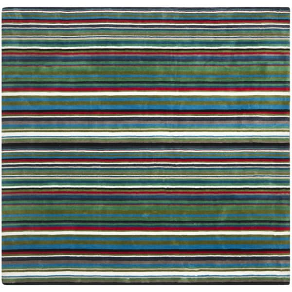 Safavieh Handmade Rodeo Drive Contemporary Green Rainbow Stripe Rug (8' Square)