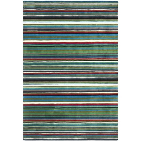 Safavieh Handmade Rodeo Drive Contemporary Green Rainbow Stripe Rug (7'6 x 9'6)