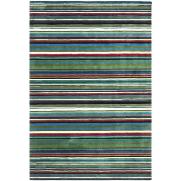 Safavieh Handmade Rodeo Drive Contemporary Green Rainbow Stripe Rug (6' x 9')