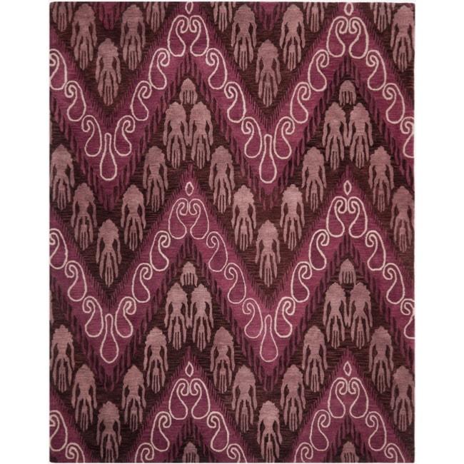 Safavieh Handmade Ikat Dark Brown/ Purple Wool Rug (8' x 10')