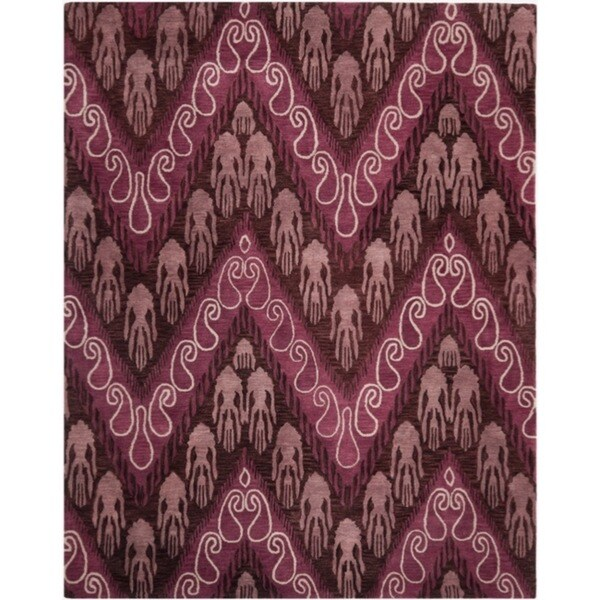Safavieh Handmade Ikat Dark Brown/ Purple Wool Rug - 8' x 10'