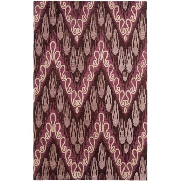 Safavieh Handmade Ikat Dark Brown/ Purple Wool Rug (5' x 8')