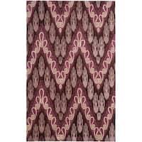 Safavieh Handmade Ikat Dark Brown/ Purple Wool Rug - 4' x 6'