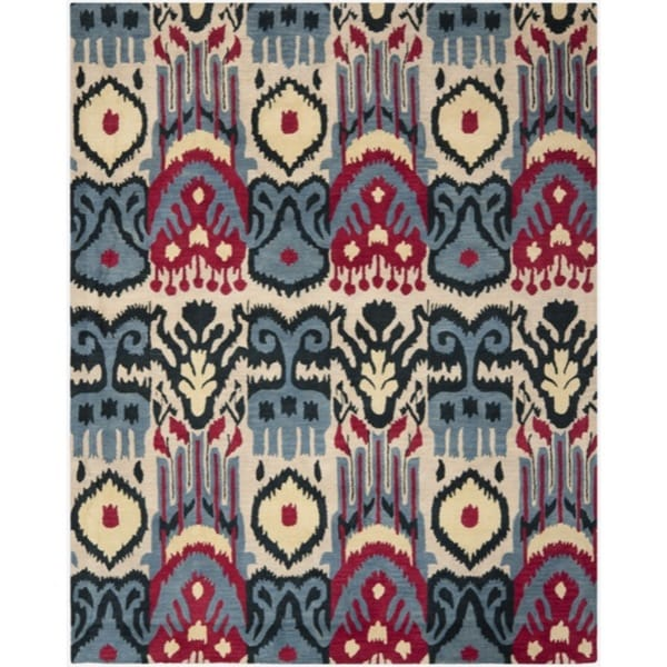 Safavieh Handmade Ikat Beige/ Blue Wool Rug (8' x 10')