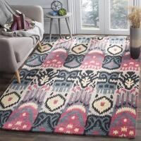Safavieh Handmade Ikat Beige/ Blue Wool Rug - 6' x 6' Square