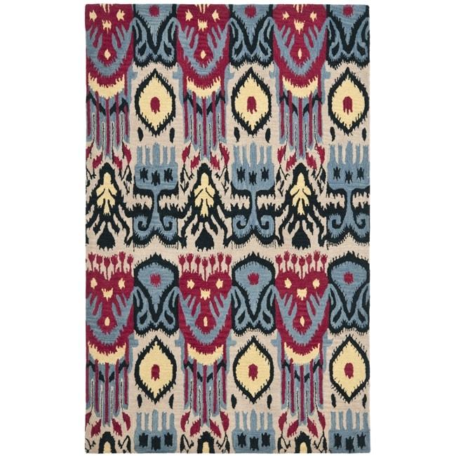 Safavieh Handmade Ikat Beige/ Blue Wool Rug (5' x 8')