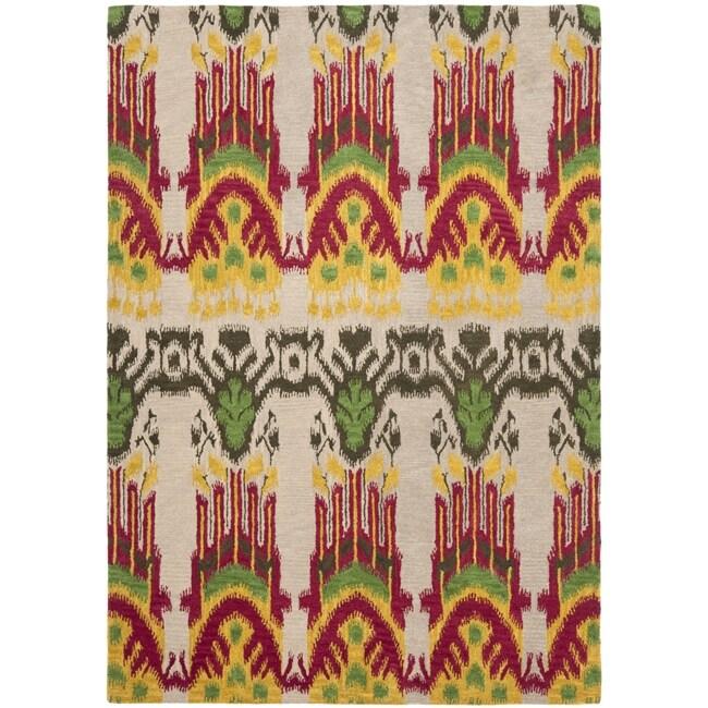 Safavieh Handmade Ikat Beige/ Yellow Wool Rug (5' x 8')