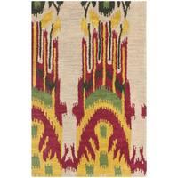 Safavieh Handmade Ikat Beige/ Yellow Wool Rug (2' x 3')