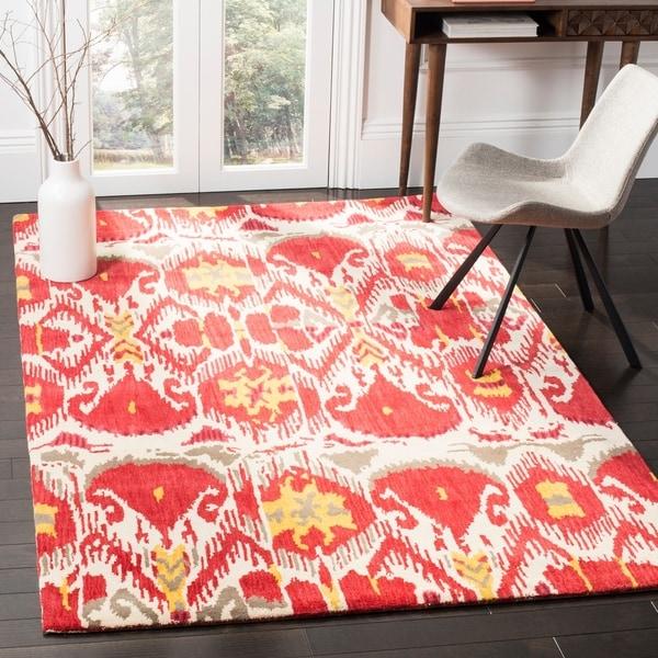 Safavieh Handmade Ikat Ivory/ Red Wool Rug - 9' x 12'
