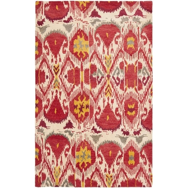 Safavieh Handmade Ikat Ivory/ Red Wool Rug (5' x 8')