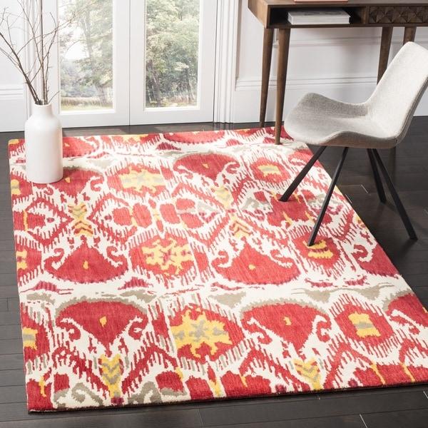 Safavieh Handmade Ikat Ivory/ Red Wool Rug (4' x 6')