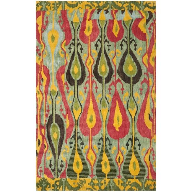 Safavieh Handmade Ikat Blue/ Green Wool Rug (8' x 10')