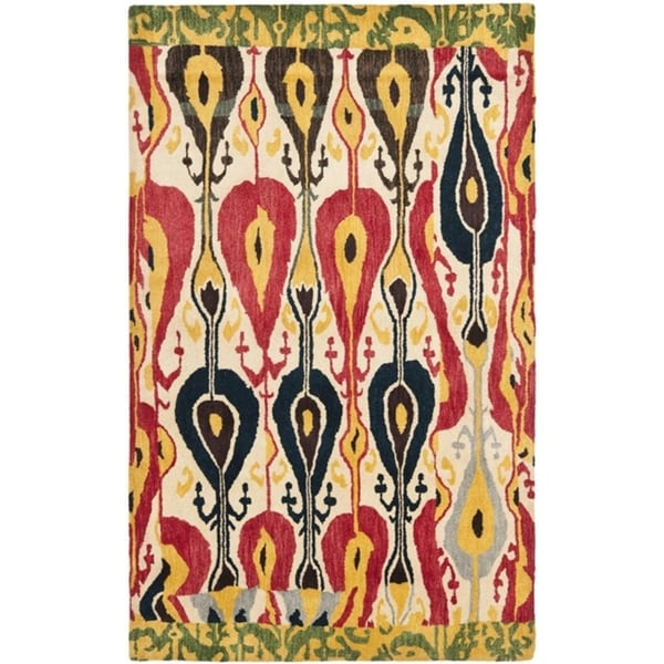 Safavieh Handmade Ikat Cream/ Green Wool Rug (9' x 12')