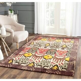Safavieh Handmade Ikat Cream/ Brown Wool Rug (5' x 8')