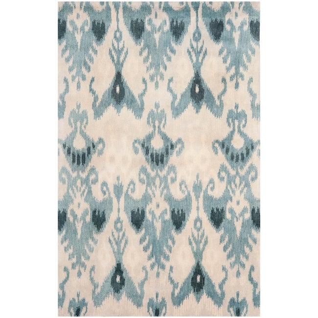 Safavieh Handmade Ikat Silver/ Blue Wool Rug (8' x 10')