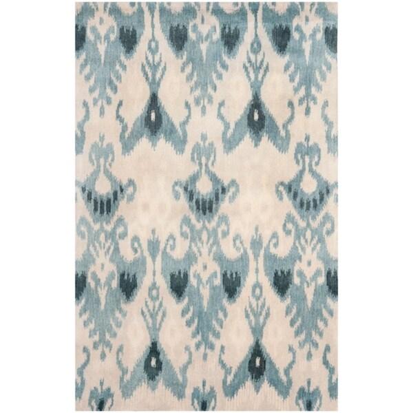 Safavieh Handmade Ikat Silver/ Blue Wool Rug - 8' x 10'