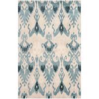 Safavieh Handmade Ikat Silver/ Blue Wool Rug - 6' x 9'