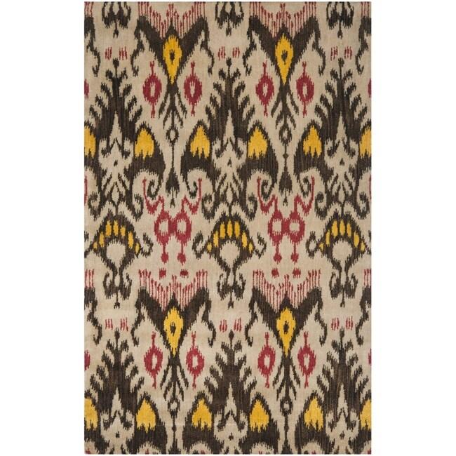 Safavieh Handmade Ikat Beige/ Brown Wool Rug (6' x 9')