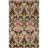 Safavieh Handmade Ikat Beige/ Brown Wool Rug - 5' x 8'
