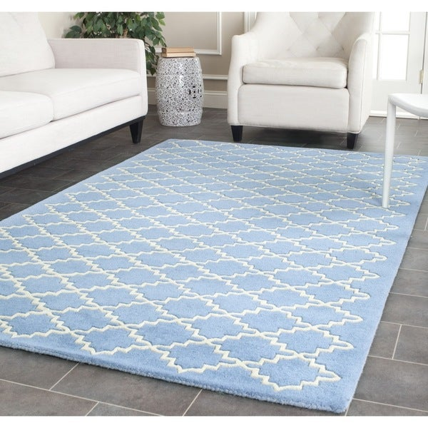 Safavieh Handmade Moroccan Chatham Blue Grey Wool Rug - 8' x 10'