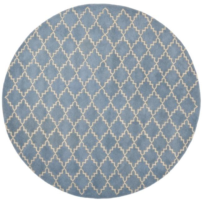 Safavieh Handmade Moroccan Chatham Blue Grey Wool Rug (7' Round)