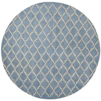 Safavieh Handmade Moroccan Chatham Blue Grey Wool Rug - 7' x 7' Round